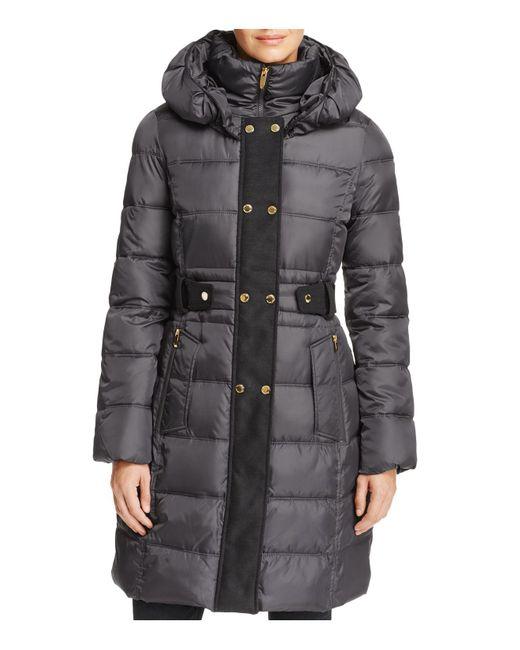 Via Spiga | Gray Contrast Placket Puffer Coat | Lyst