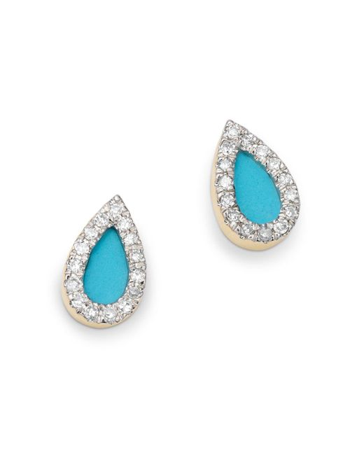 Adina Reyter - Multicolor 14k Yellow Gold Turquoise Or Opal & Diamond Teardrop Stud Earrings - Lyst