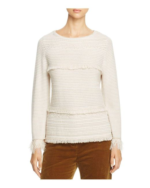 Weekend by Maxmara | White Ardenza Feather Cuff Virgin Wool Sweater | Lyst