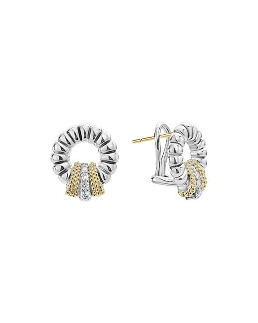 Lagos | Metallic 18k Gold And Sterling Silver Diamond Lux Circle Earrings | Lyst