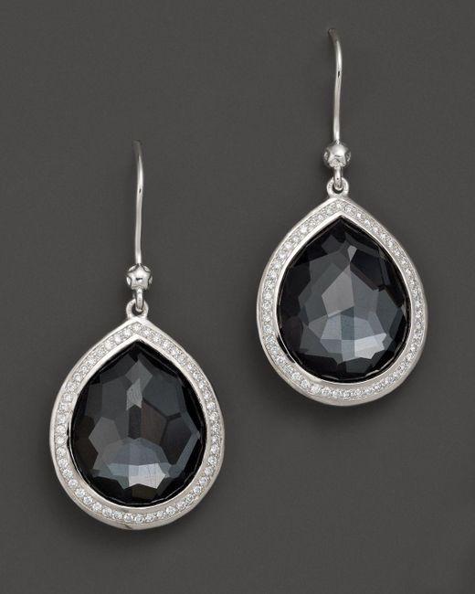 Ippolita   Multicolor Sterling Silver Stella Earrings In Hematite Doublet With Diamonds   Lyst