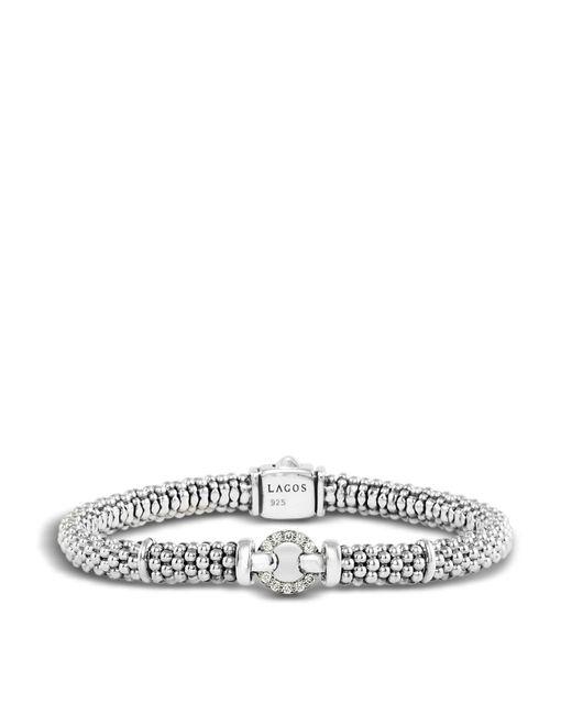 Lagos   Metallic Enso Sterling Silver Caviar Bracelet With Diamonds   Lyst