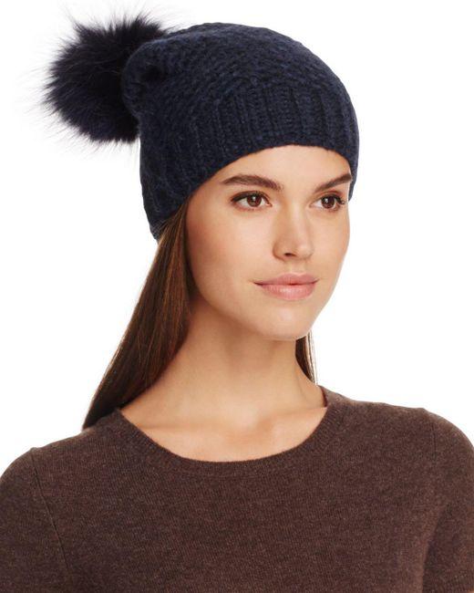 Inverni - Blue Fur Pom-pom Slouchy Beanie - Lyst