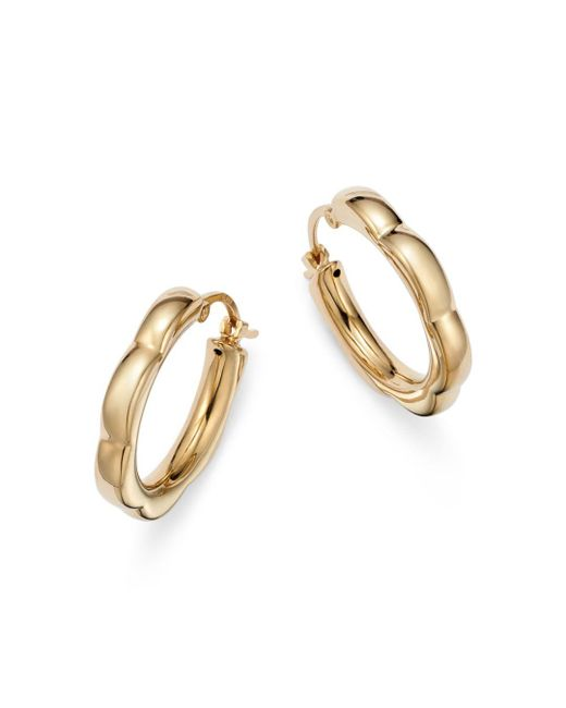 Bloomingdale's - Metallic Small Scalloped Hoop Earrings In 14k Yellow Gold - Lyst
