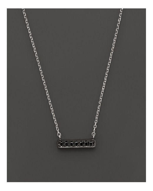 Dana Rebecca | Black Diamond Sylvie Rose Mini Bar Necklace In 14k White Gold And Black Rhodium, 16"