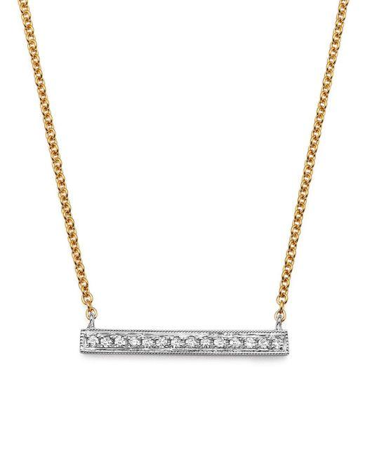 Dana Rebecca   14k White & Yellow Gold Sylvie Rose Medium Bar Necklace With Diamonds   Lyst