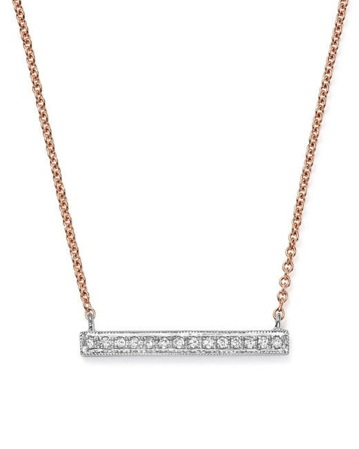 Dana Rebecca   14k White & Rose Gold Sylvie Rose Medium Bar Necklace With Diamonds   Lyst