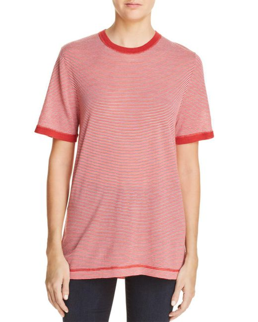 T By Alexander Wang - Pink Striped Ringer Tee - Lyst