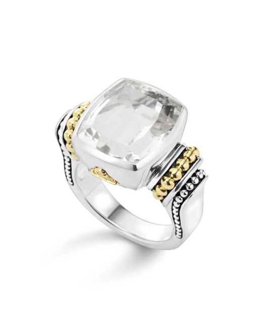 Lagos - Metallic 18k Gold And Sterling Silver Caviar Color Medium Ring With White Topaz - Lyst