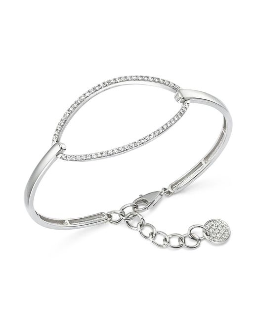 KC Designs - Metallic Diamond Oval Bangle Bracelet In 14k White Gold - Lyst
