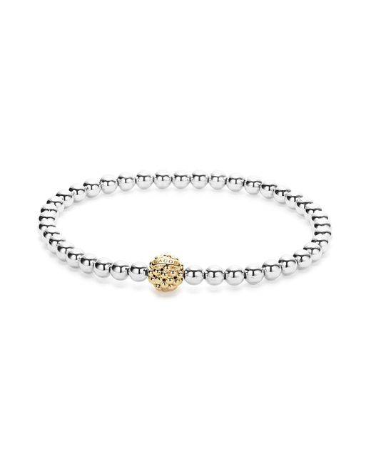 Lagos | Metallic 18k Gold And Sterling Silver Stretch Bracelet With Caviar Icon Ball | Lyst
