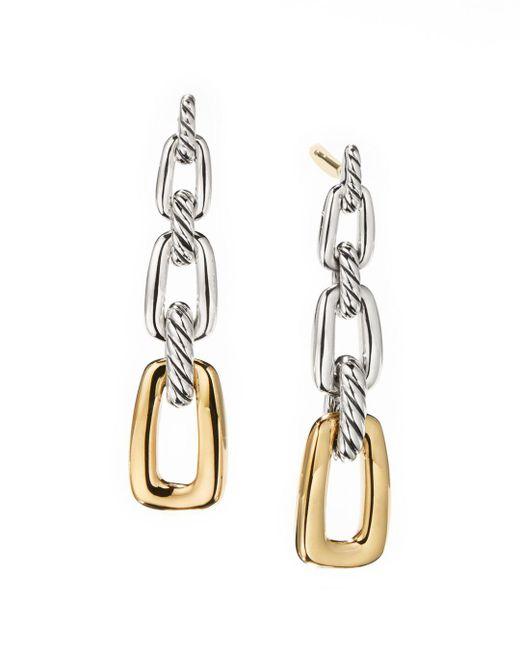 David Yurman - Metallic Wellesley Link Drop Earrings In Sterling Silver With 18k Yellow Gold - Lyst