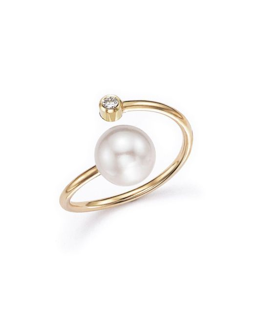 Zoe Chicco - Metallic 14k Yellow Gold Bypass Ring With Cultured Freshwater Pearls And Diamonds - Lyst