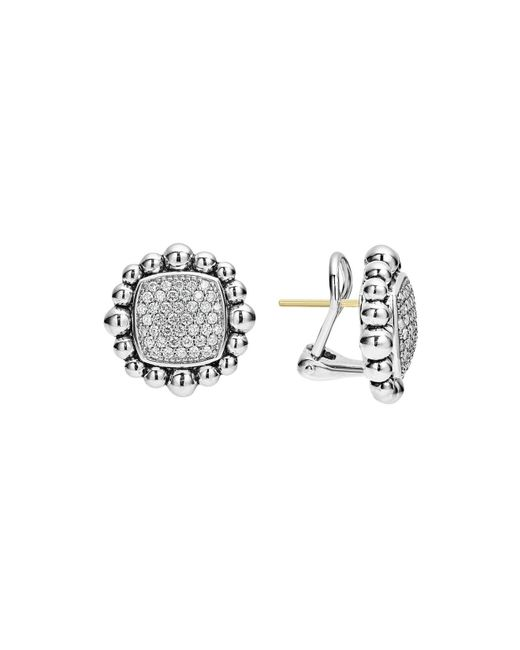 Lagos | Metallic Sterling Silver Caviar Spark Diamond Square Earrings | Lyst