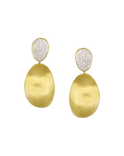 Marco Bicego | Metallic Diamond Lunaria Two Drop Large Earrings In 18k Gold | Lyst
