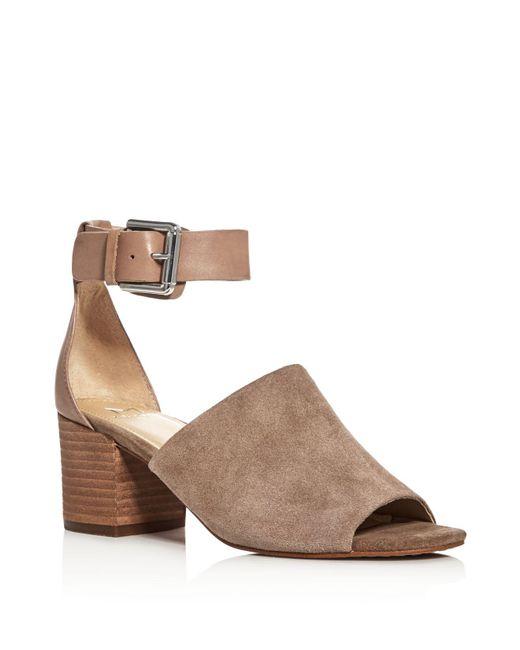 Marc Fisher | Brown Robe Ankle Strap Block Heel Sandals | Lyst