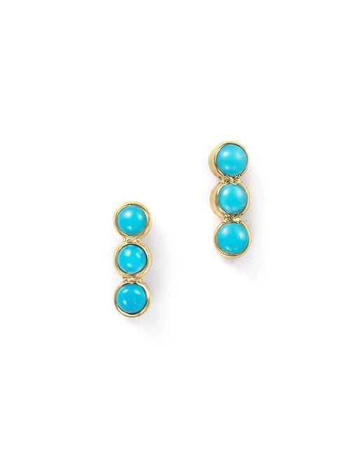 Zoe Chicco - Blue 14k Yellow Gold Triple Bezel Turquoise Stud Earrings - Lyst