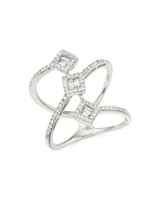 Bloomingdale's - Metallic Diamond Round And Baguette Statement Ring In 14k White Gold, .50 Ct. T.w. - Lyst