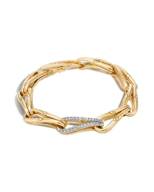 John Hardy | Gray Bamboo 18k Gold And Diamond Link Bracelet | Lyst