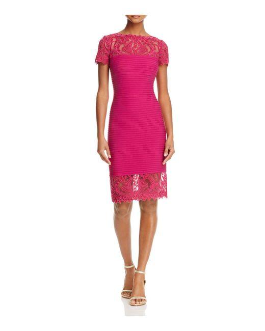 Tadashi Shoji | Pink Lace Detail Pintucked Dress | Lyst