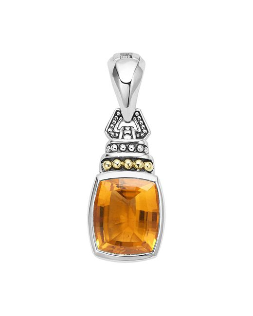 Lagos | Metallic 18k Gold And Sterling Silver Caviar Color Pendant With Citrine | Lyst