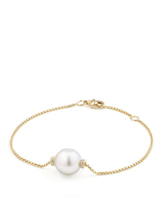 David Yurman - Metallic Solari Single Station Bracelet In 18k Gold With Diamonds And South Sea Cultured Pearl - Lyst