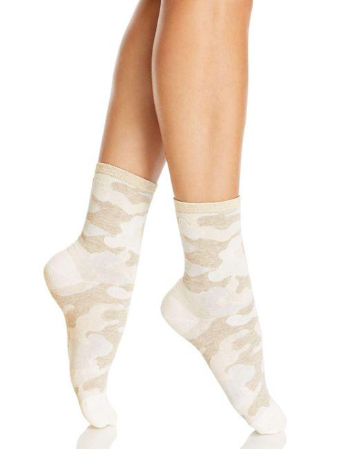 Hue - White Metallic Top Camo Shortie Socks - Lyst