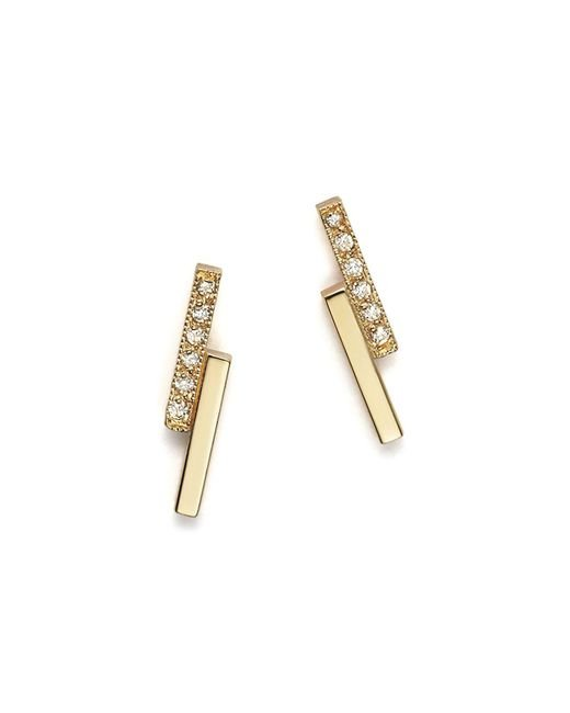 Zoe Chicco | Metallic 14k Small Staggered Bar Stud Earrings With Diamonds | Lyst