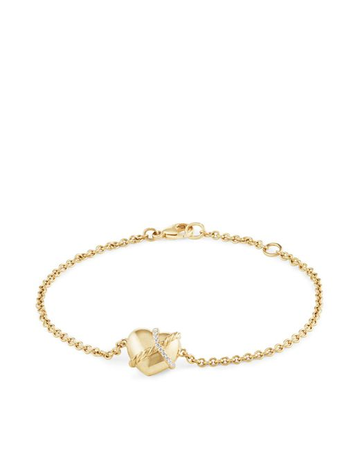 David Yurman - Metallic Le Petit Coeur Sculpted Heart Chain Bracelet With Diamonds In 18k Gold - Lyst