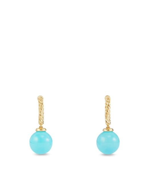 David Yurman | Blue Solari Hoop Earrings With Turquoise In 18k Gold | Lyst