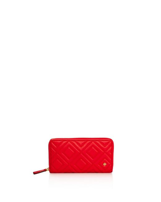 Tory Burch - Red Fleming Zip Continental Leather Wallet - Lyst