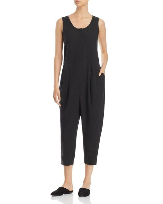 Eileen Fisher - Black Crop Jumpsuit - Lyst