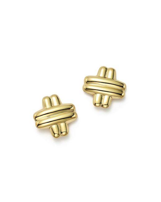 Bloomingdale's - Metallic 14k Yellow Gold Medium Cross Stud Earrings - Lyst