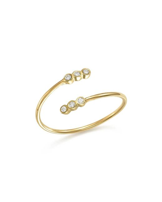 Zoe Chicco - Metallic 14k Yellow Gold Bypass Ring With Bezel Diamonds - Lyst