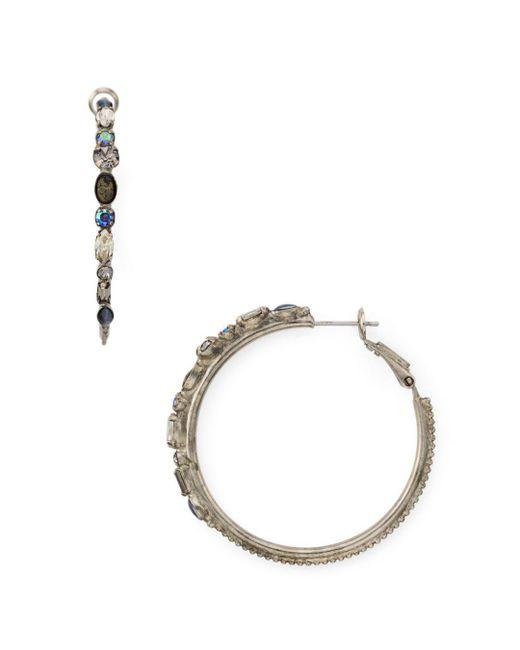 Sorrelli - Metallic Crystal Embellished Hoop Earrings - Lyst