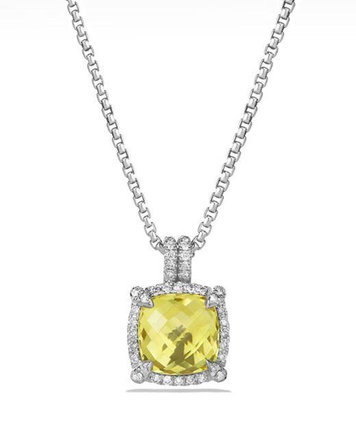 David Yurman - Metallic Châtelaine Pavé Bezel Pendant Necklace With Lemon Citrine And Diamonds - Lyst