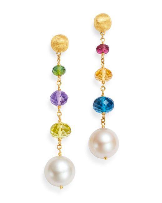 Marco Bicego - Metallic 18k Yellow Gold Africa Gemstone Pearl & Gemstone Drop Earrings - Lyst