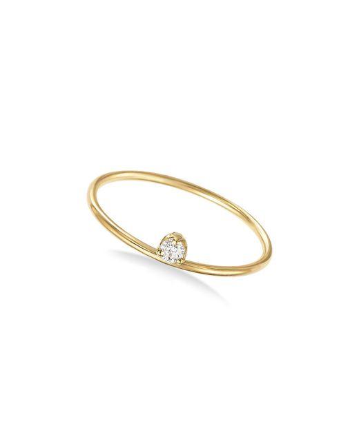 Zoe Chicco | Metallic 14k Yellow Gold Prong Set Diamond Ring | Lyst