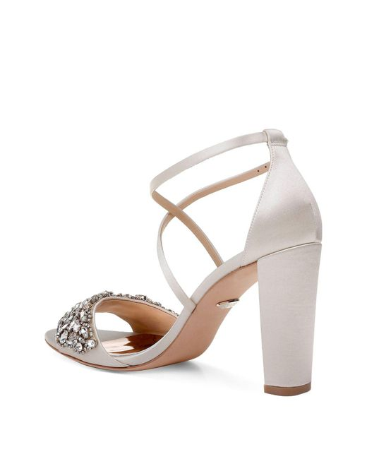 Badgley Mischka Women's Harper Embellished Satin Crisscross Strap Sandals hYAi5w8BC
