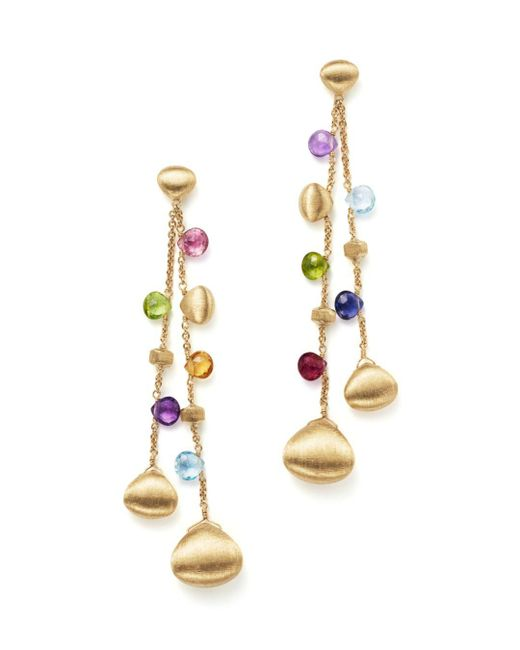Marco Bicego - Metallic 18k Yellow Gold Paradise Teardrop Long Double Strand Gemstone Earrings - Lyst
