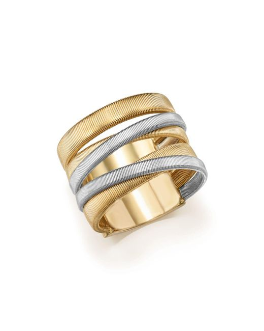 Marco Bicego - Metallic 18k White & Yellow Gold Masai Five-strand Crossover Ring - Lyst