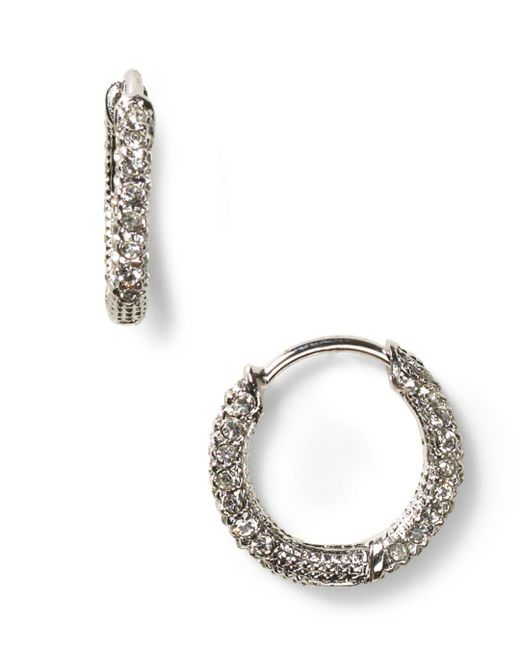 Nadri - Metallic Pavé Huggie Hoop Earrings - Lyst