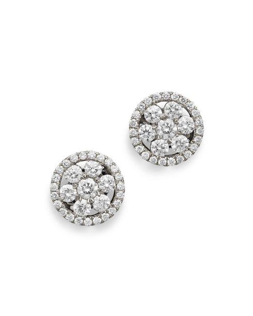 Roberto Coin | 18k White Gold Diamond Round Cluster Earrings | Lyst