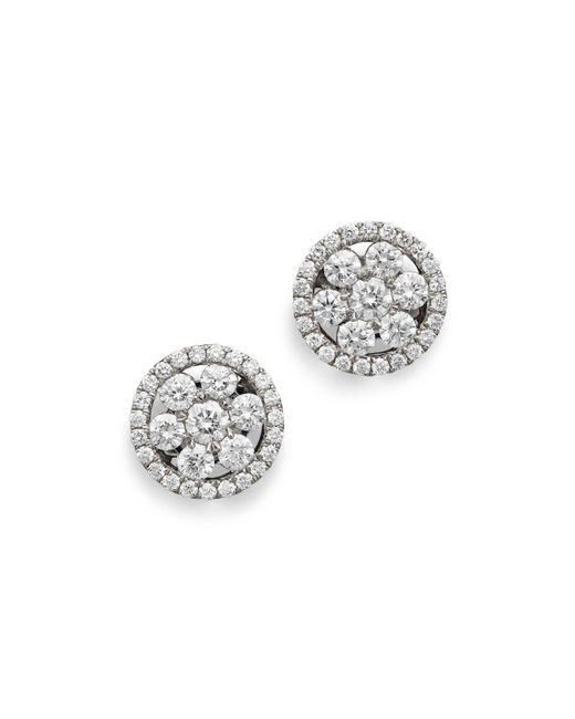 Roberto Coin | 18k White Gold Diamond Round Cluster Earrings | Lyst
