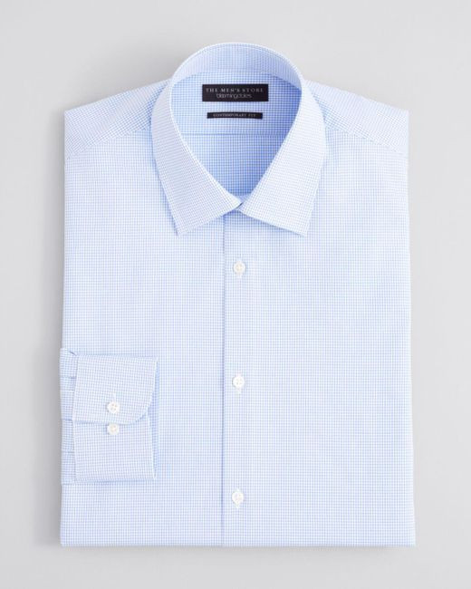 Bloomingdale's - Blue Textured Micro Grid Check Dress Shirt - Regular Fit for Men - Lyst