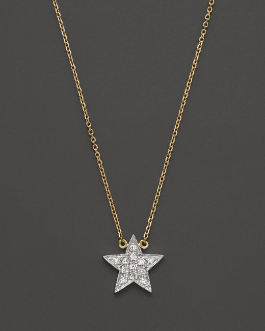 Dana Rebecca | Diamond Julianne Himiko Star Necklace In 14k White Gold With 14k Yellow Gold Chain, 16"