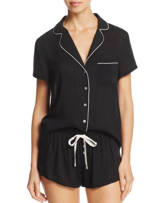 Splendid - Black Intimates Piped Short Pajama Set - Lyst