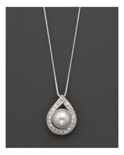 "Bloomingdale's - Metallic Cultured Akoya Pearl Pendant Necklace With Diamonds, 17.5"" - Lyst"