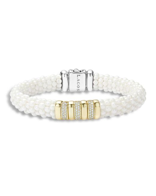 Lagos - White Caviar Ceramic And 18k Gold Station Bracelet With Diamonds - Lyst