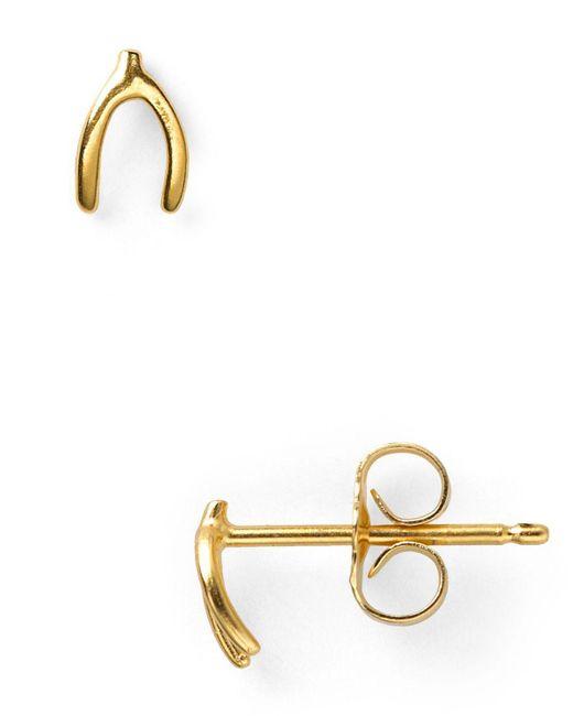 Dogeared | Metallic Wishbone Stud Earrings | Lyst